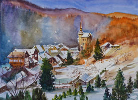 Snowy Village by Little-Pavillion