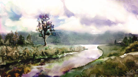 Watercolor Landscape by Mitchel93