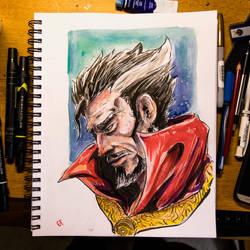 Inktober 2016 Day 18 - Sad Dr.Strange by Dr-Carrot