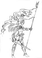 Banner carrier - sketch by RisingDragonArt
