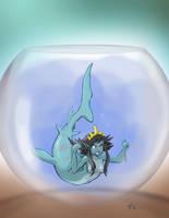 Shark Mermaid in Fishbowl by RisingDragonArt