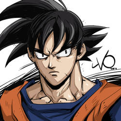 Digital Sketch Warm Up - 10 Goku by Vostalgic