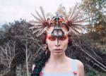 Tribal Warrior Art Nouveau Battle Headdress by apatico