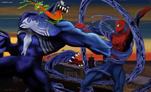 Venom VS. Spidey by JonBland
