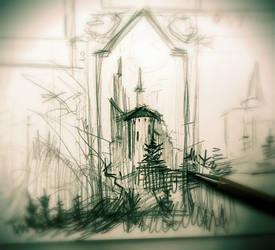 Dracula's Castle_sketch by Dik-LEN-vaY