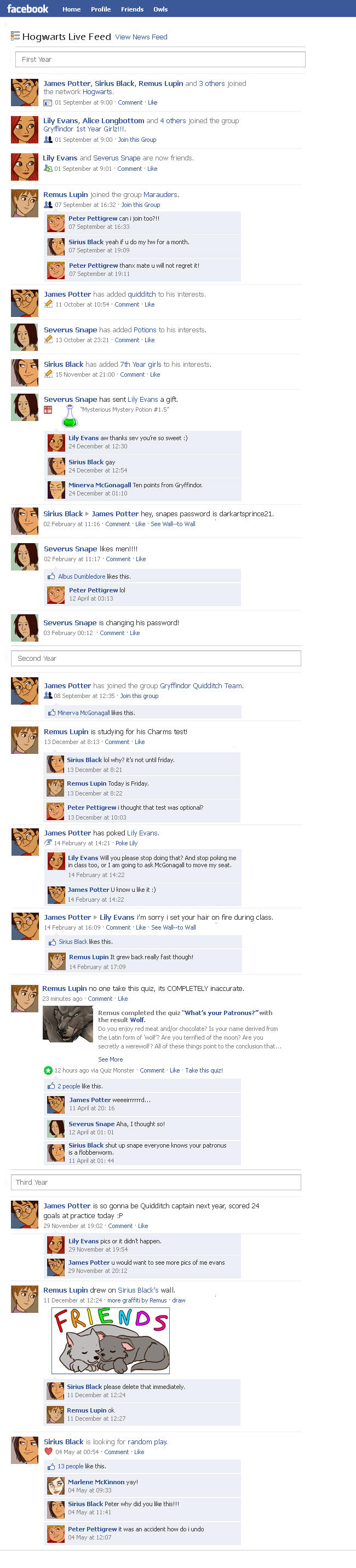 Marauders Facebook Timeline 1 by julvett