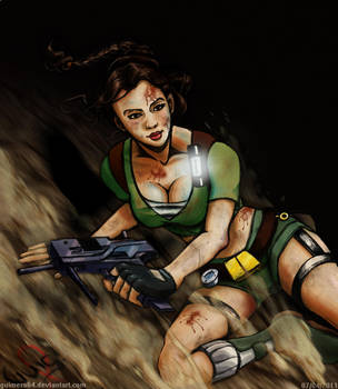 Lara Croft Sliding Down by guimero64