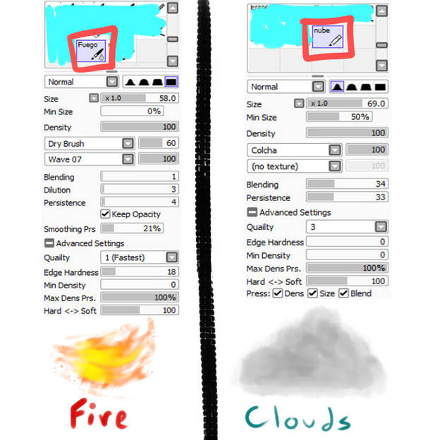 Paint tool SAI brushes (Fire and Clouds) by xLUK4x