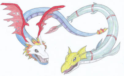 Digimon - Airdramon and Seadramon by CurrentlyLoading
