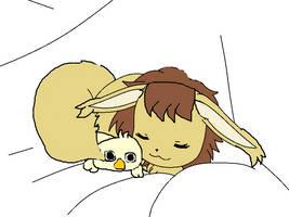 tamami, sleeping with her duck plushie, piyo by akarifan25