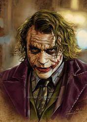 Heath Ledger's JOKER by aaronwty