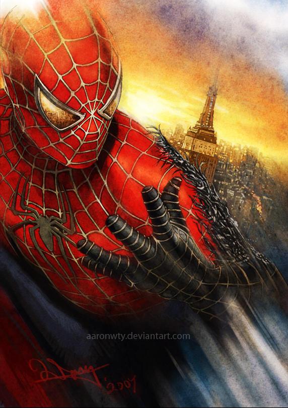 Spiderman vs Venom Symbiote by aaronwty