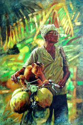 The Coconut Man and his Monkey by aaronwty