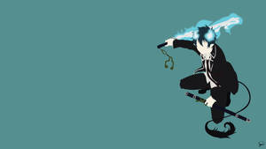 Rin Okumura (Ao no Exorcist) Minimalist Wallpaper by greenmapple17