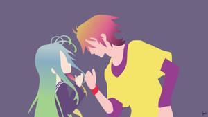 Shiro/Sora (No Game No Life) Minimalist Wallpaper by greenmapple17