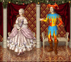 Christmas Eve carnival - Jester and Shepherdess by Arrelline