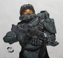 Master Chief Illustration by AlexFentonDesigns