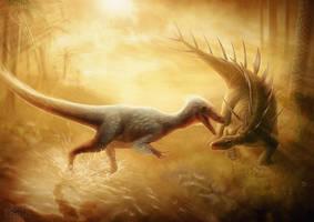 Lexovisaurus Vs Eustreptospondylus by AntLamb