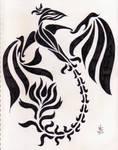 Phoenix Lineart - 2010 by Ginkage