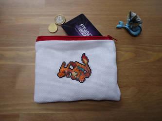 Cross stitch Charizard pouch by Miloceane