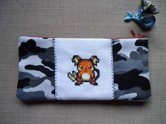 Cross stitch Raichu pencil case by Miloceane