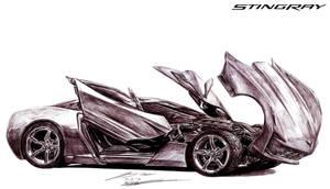 Corvette Stingray Concept Sideswipe by toyonda