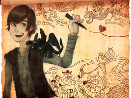 HTTYD-Hiccup and Toothless by LearRei