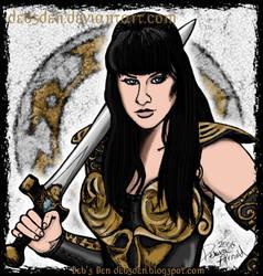 Xena posing with her sword. by Xena-Fan-Club