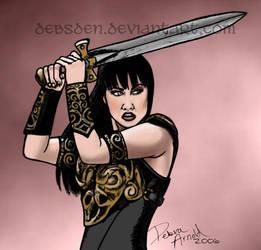 Xena wields her sword by Xena-Fan-Club