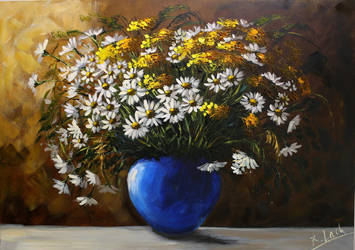 Flowrs in the blue vase by Kasia1989