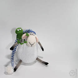 Russell the Sheep and his sidekick, the frog by wooltoys-ru