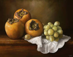 Classic still life with persimmons and grape by rustydoubleohseven