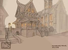 Architectural Sketch - Proudspire Manor, Solitude by Bloody-crackerjack