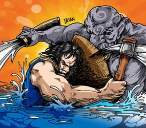 Man vs Monster by ihsans-Art