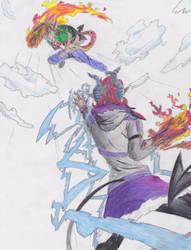 Art trade: Axl vs Drake by dragonman12