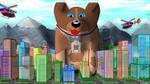 friendy giant dog saving city by Scott-A-T-art