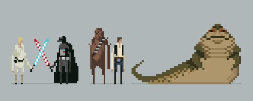 Star Wars Pixel Lineup by drawsgood
