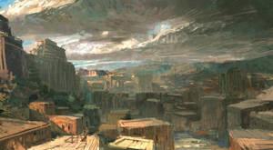 City - mood sketch by TacticsOgre