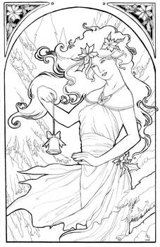 Holiday Nouveau 2007 Line Art by AngelaSasser