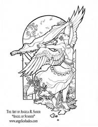 Angel of Summer Line Art by AngelaSasser