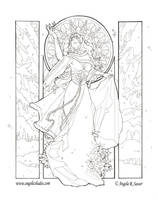 Lady Snowflake Line Art by AngelaSasser
