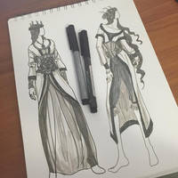Lady of February Fashion Sketches by AngelaSasser