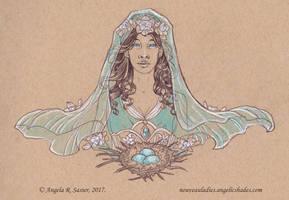 Inktober 2017 - The Lady of Resurrection by AngelaSasser