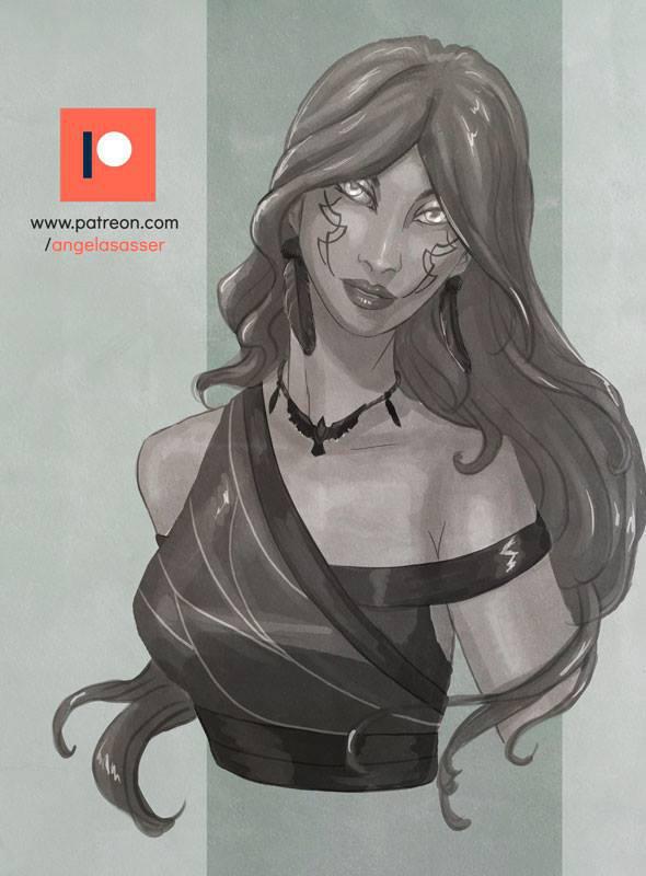 Patreon Sketch - Glamourous Druid Nansaidh by AngelaSasser