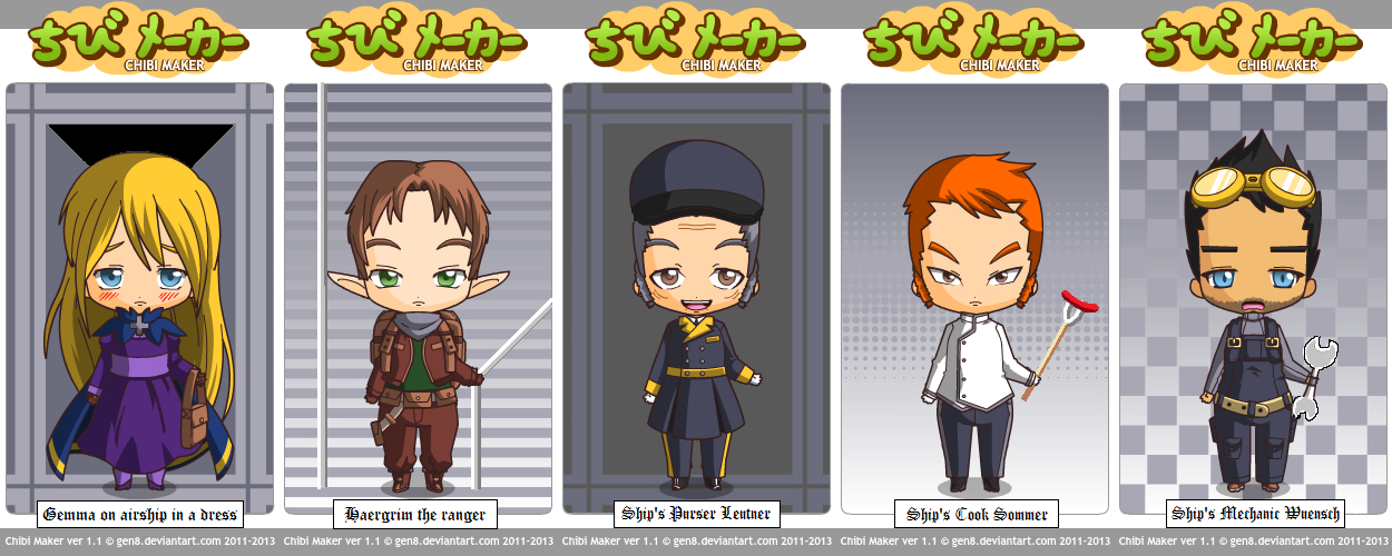 Chibi version of BBRB Albi Aula Arc - Airship Team by BasileusIoannis