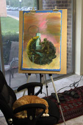 Progress Painting and a tired cat by artistic-engine