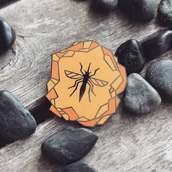 Mosquito in Amber - Hard Enamel Pin by FabledCreative