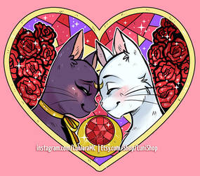 Luna and Artemis Heart by luniara