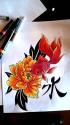 Goldfish and Peony by mrinx