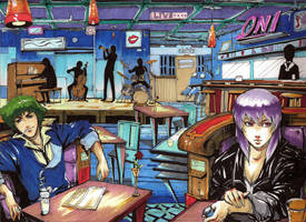 Spike and Motoko Jazz Scene Commission Color by anireal